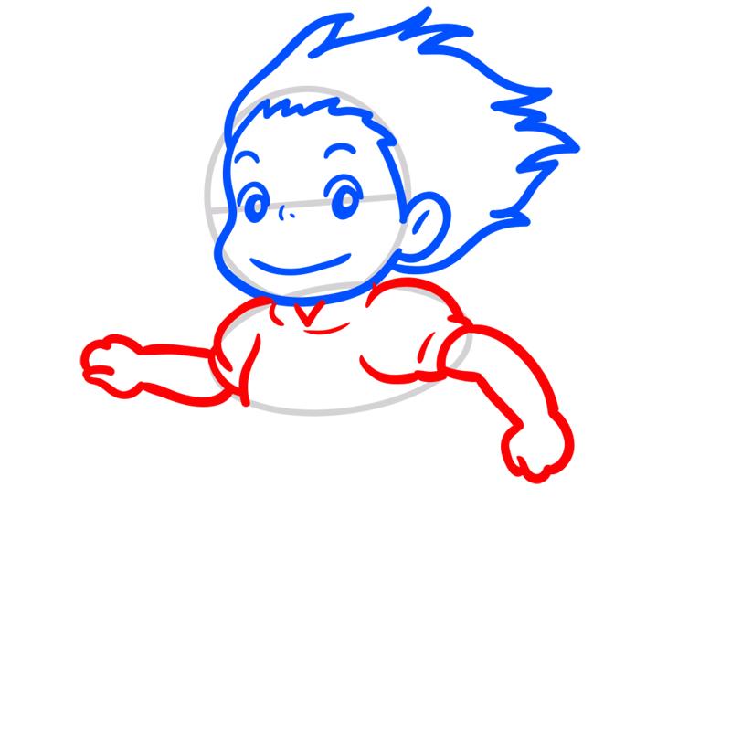 Learn easy to draw Ponyo Ghibli Characters step 05