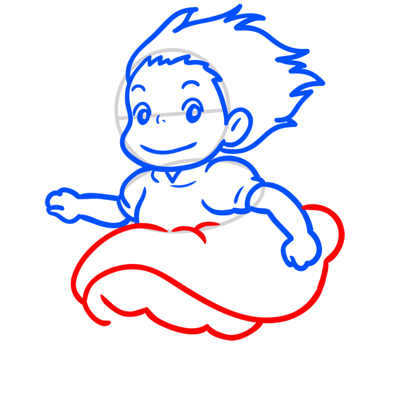 Learn easy to draw Ponyo Ghibli Characters step 06