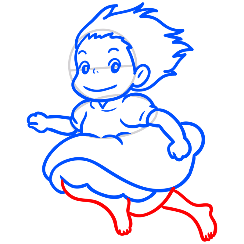 Learn easy to draw Ponyo Ghibli Characters step 07