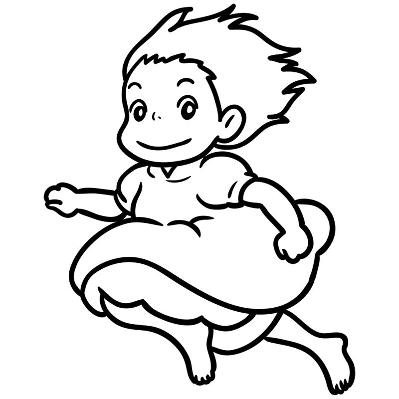 Learn easy to draw Ponyo Ghibli Characters step 08