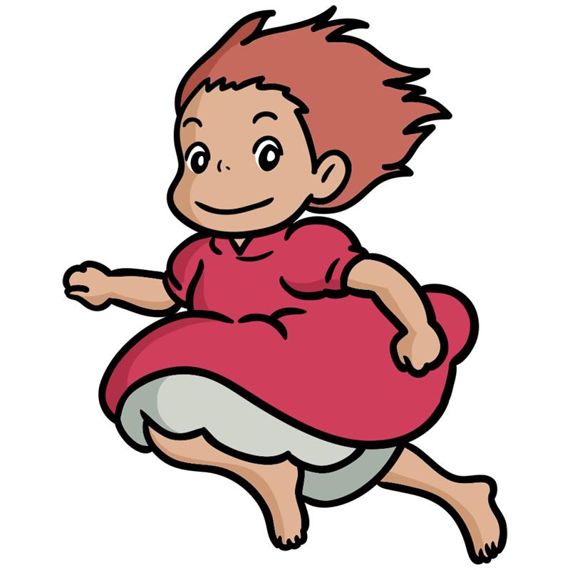 Learn easy to draw Ponyo Ghibli Characters step 09