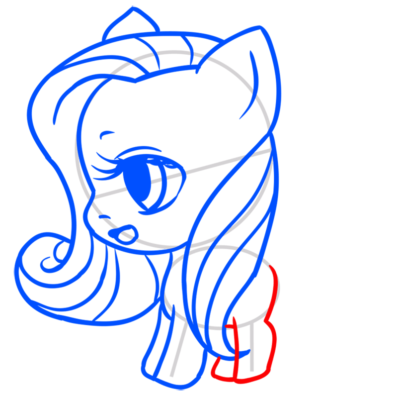 Learn easy to draw Pretty Pony step 07