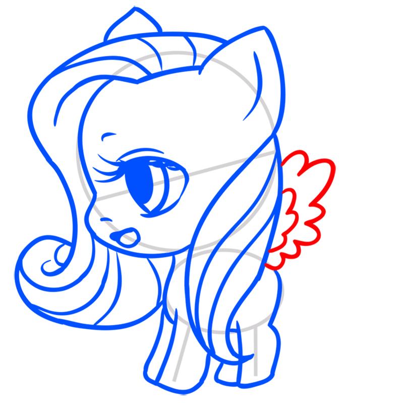 Learn easy to draw Pretty Pony step 08
