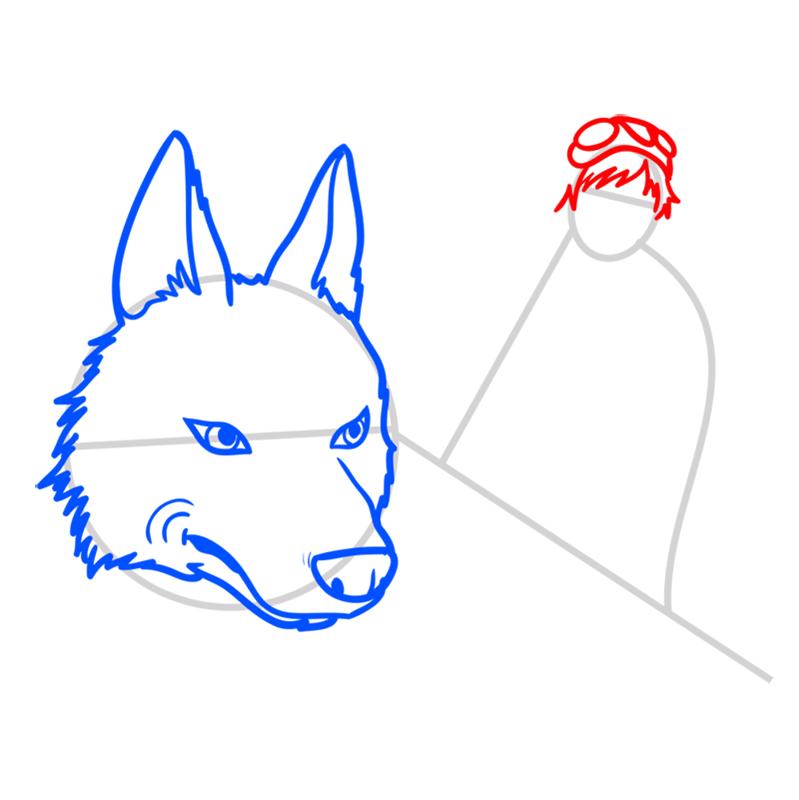 Learn easy to draw Princess Mononoke Ghibli Characters step 04