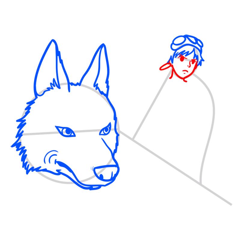 Learn easy to draw Princess Mononoke Ghibli Characters step 05