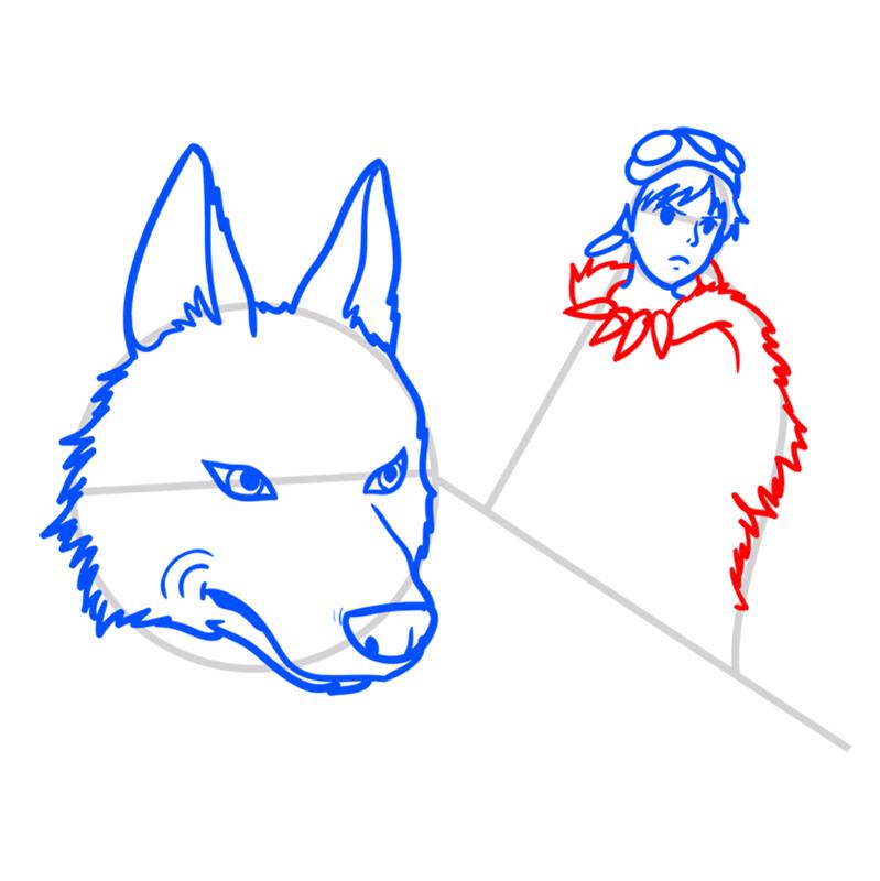 Learn easy to draw Princess Mononoke Ghibli Characters step 06