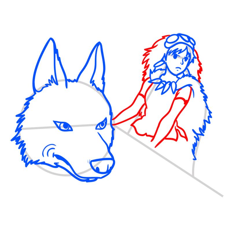 Learn easy to draw Princess Mononoke Ghibli Characters step 07
