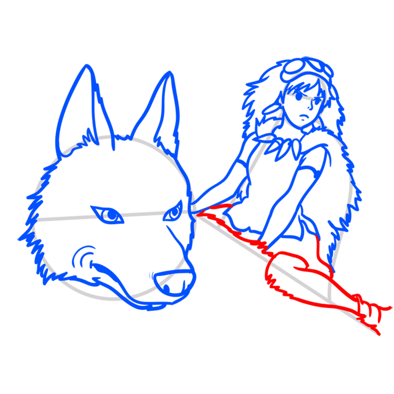 Learn easy to draw Princess Mononoke Ghibli Characters step 08