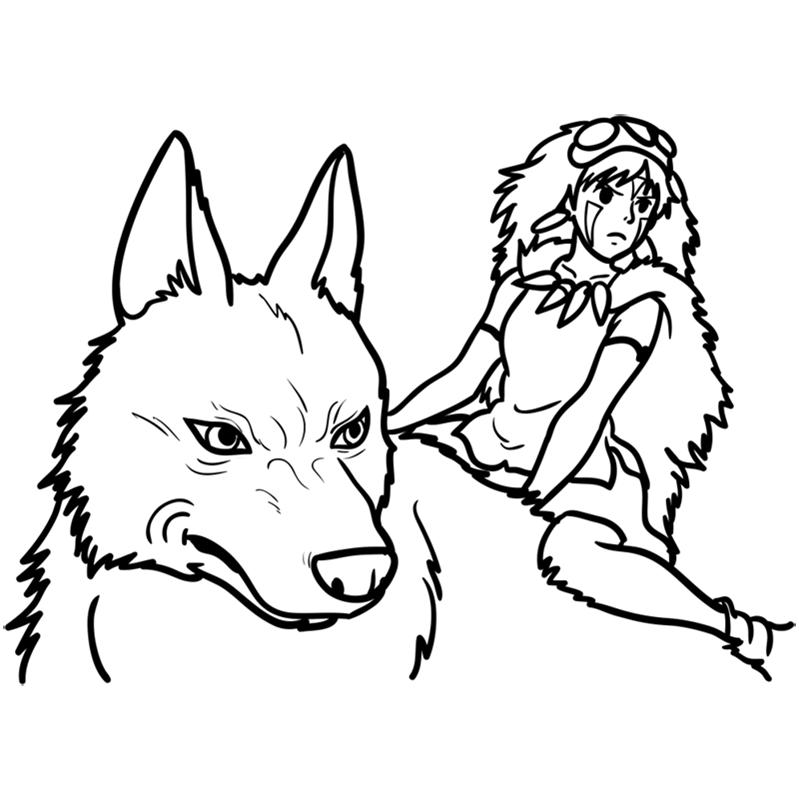 Learn easy to draw Princess Mononoke Ghibli Characters step 10