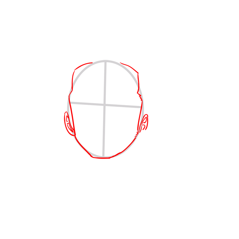 Learn easy to draw Roronoa Face One Piece step 02