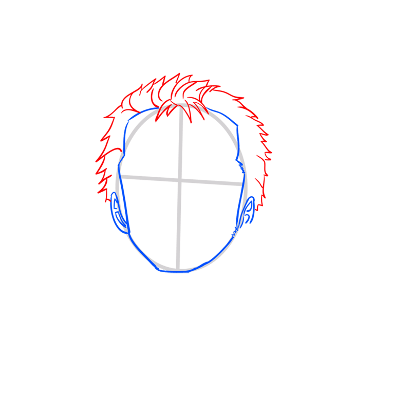 Learn easy to draw Roronoa Face One Piece step 03
