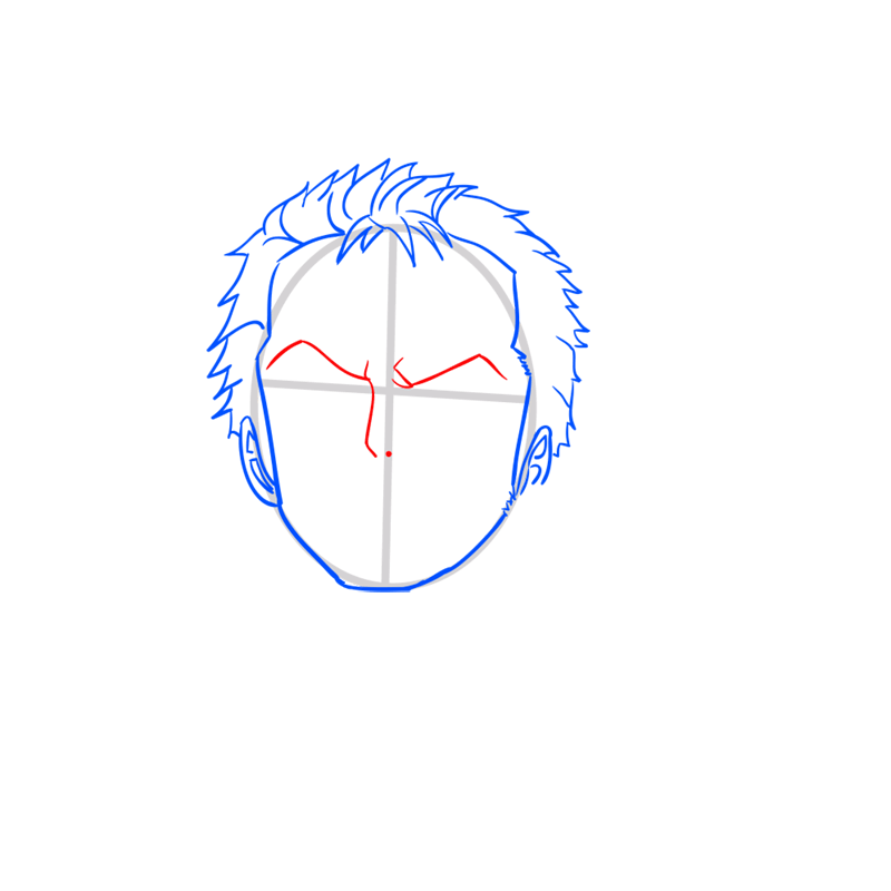 Learn easy to draw Roronoa Face One Piece step 04