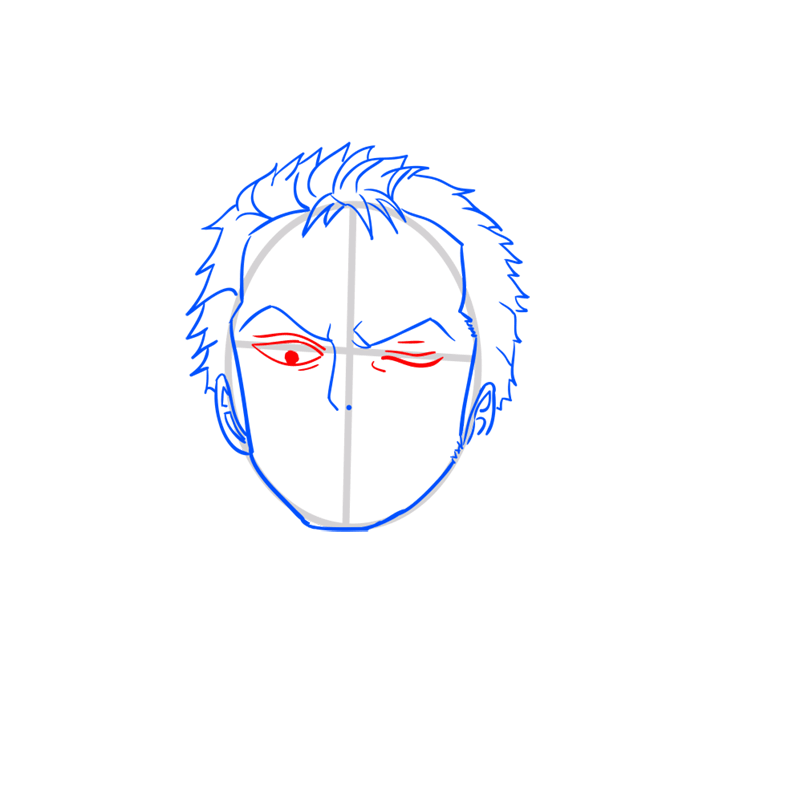 Learn easy to draw Roronoa Face One Piece step 05