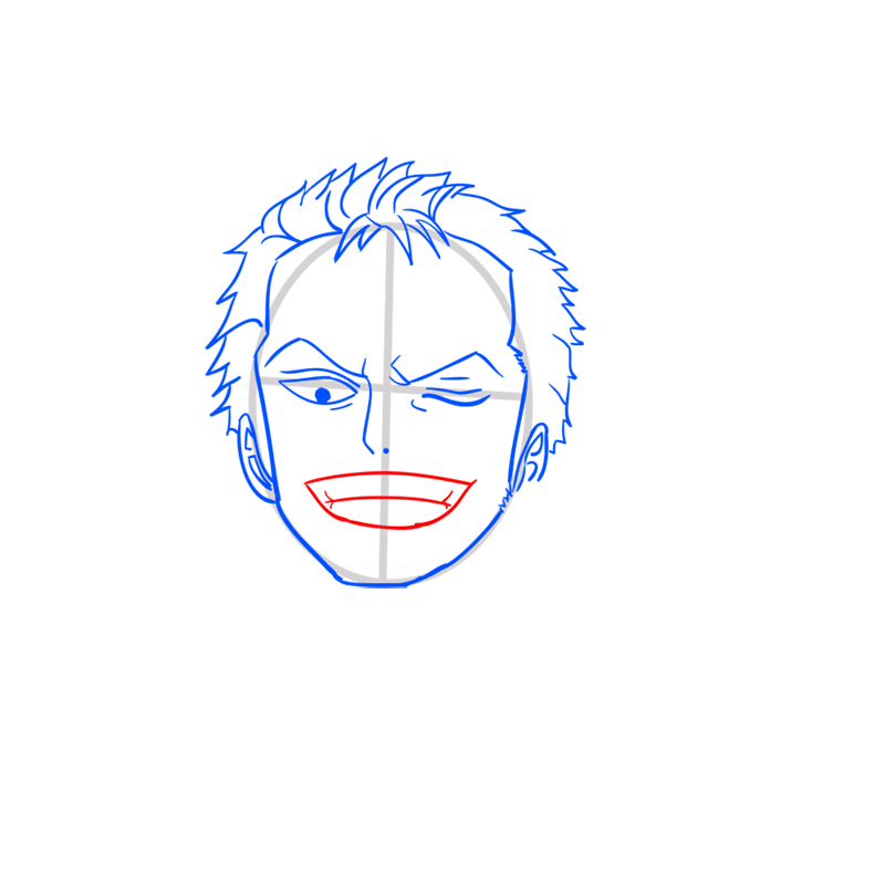 Learn easy to draw Roronoa Face One Piece step 06