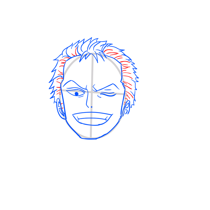 Learn easy to draw Roronoa Face One Piece step 07