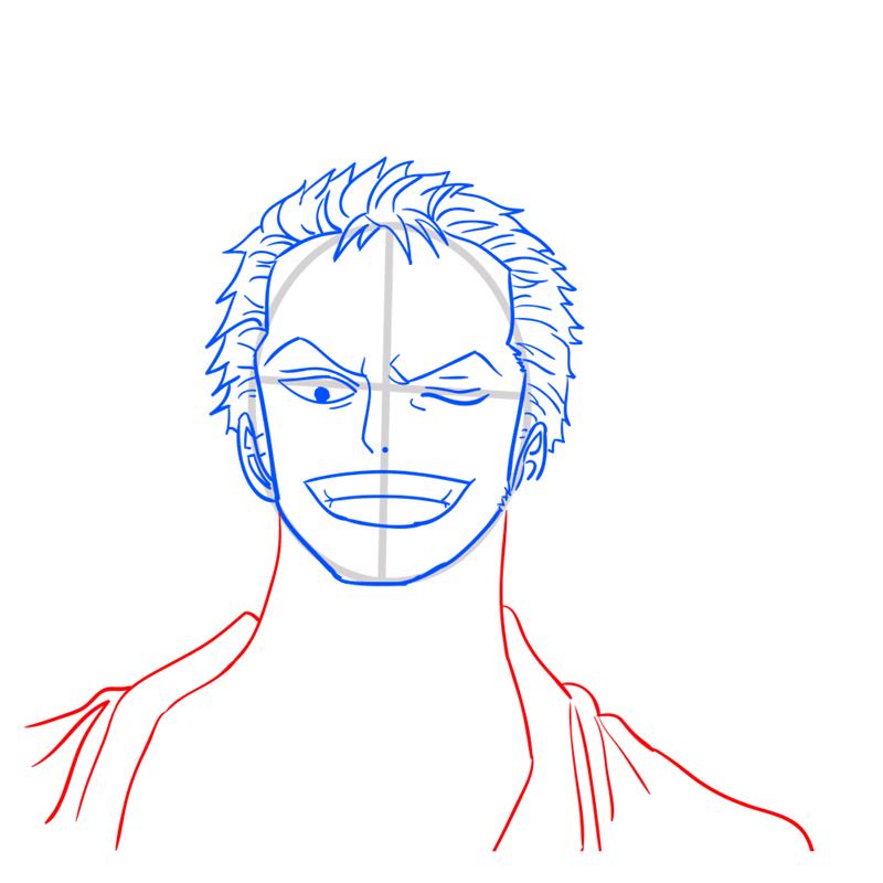 Learn easy to draw Roronoa Face One Piece step 08