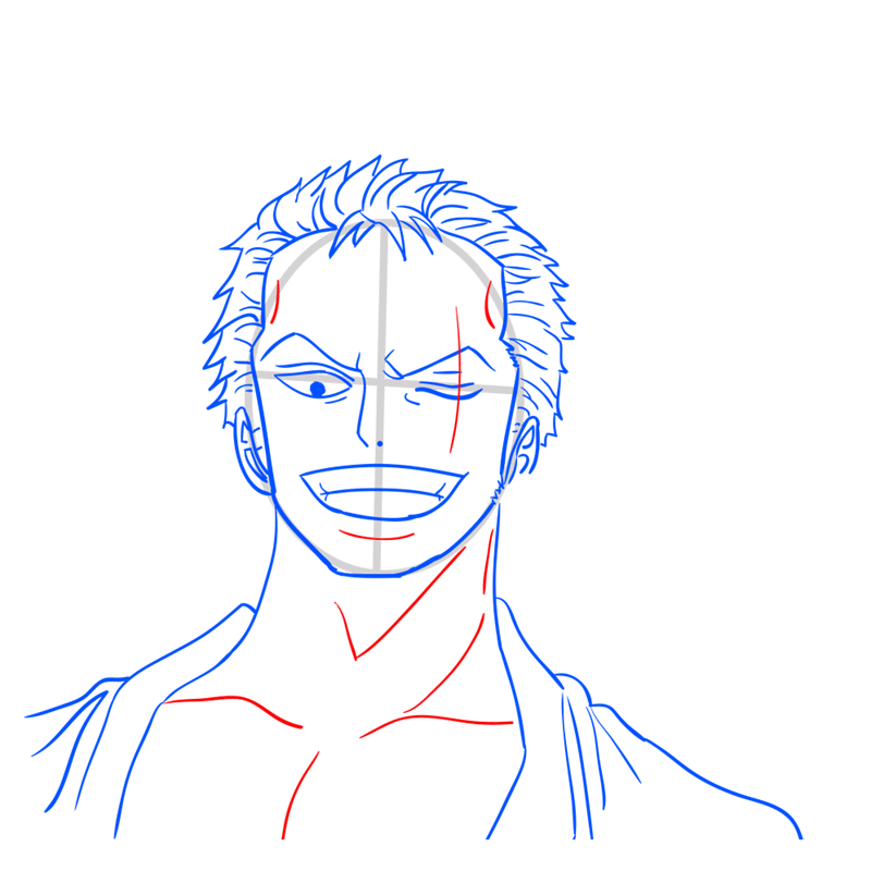 Learn easy to draw Roronoa Face One Piece step 09