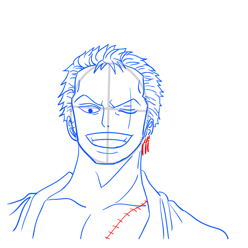 Learn easy to draw Roronoa Face One Piece step 10