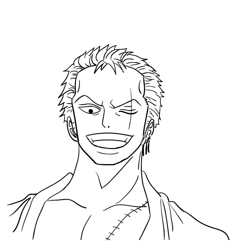 Learn easy to draw Roronoa Face One Piece step 11
