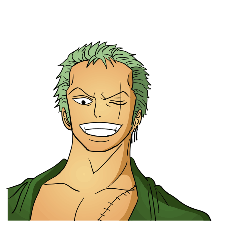Learn easy to draw Roronoa Face One Piece step 12