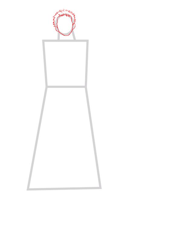 Learn easy to draw Roronoa Zoro One Piece step 02