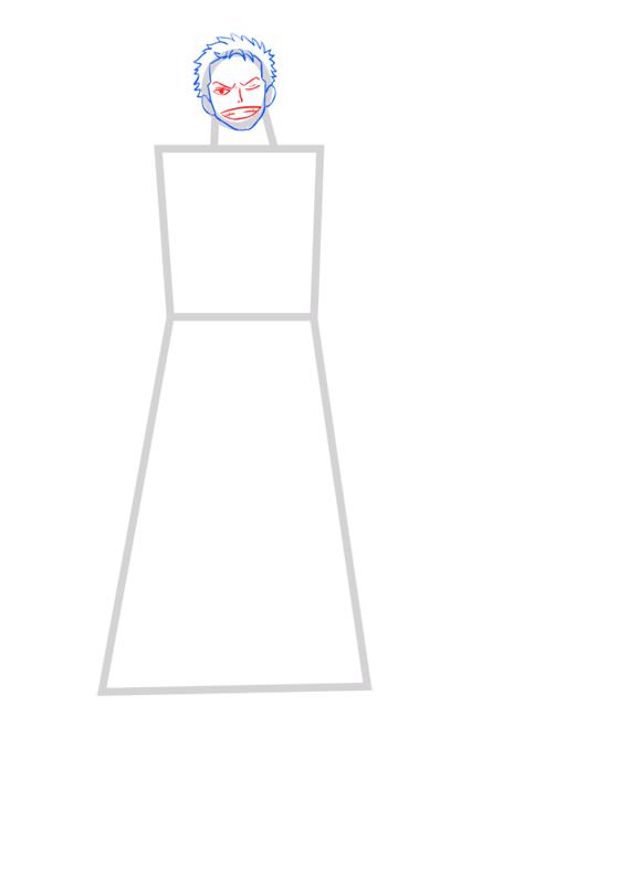 Learn easy to draw Roronoa Zoro One Piece step 03
