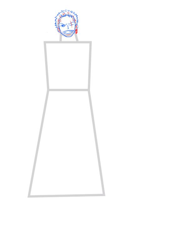 Learn easy to draw Roronoa Zoro One Piece step 04