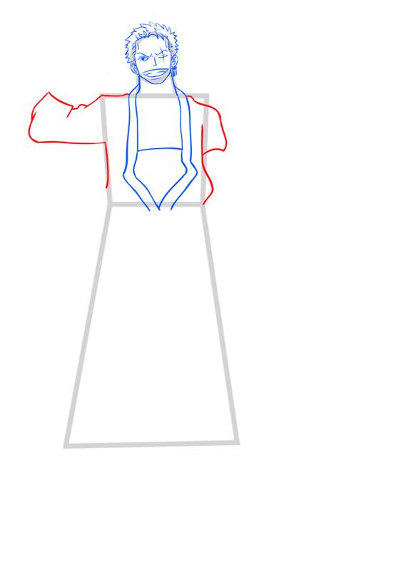 Learn easy to draw Roronoa Zoro One Piece step 06
