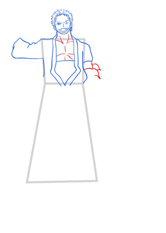 Learn easy to draw Roronoa Zoro One Piece step 07
