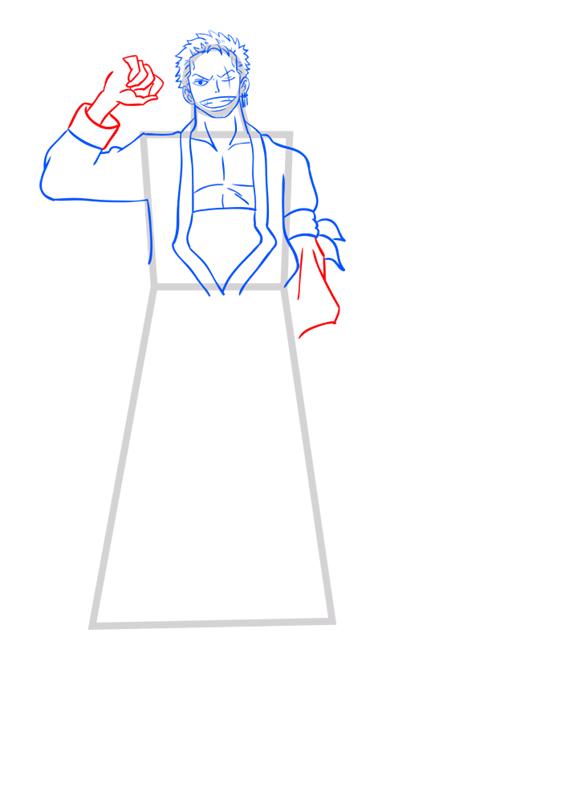 Learn easy to draw Roronoa Zoro One Piece step 08