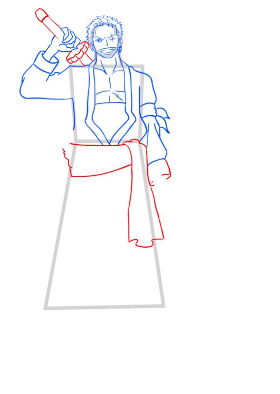 Learn easy to draw Roronoa Zoro One Piece step 09