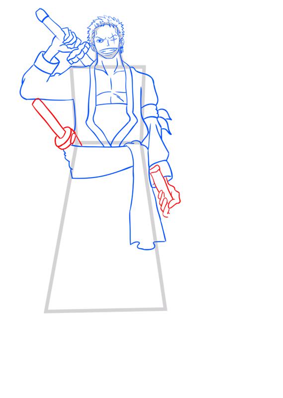 Learn easy to draw Roronoa Zoro One Piece step 10