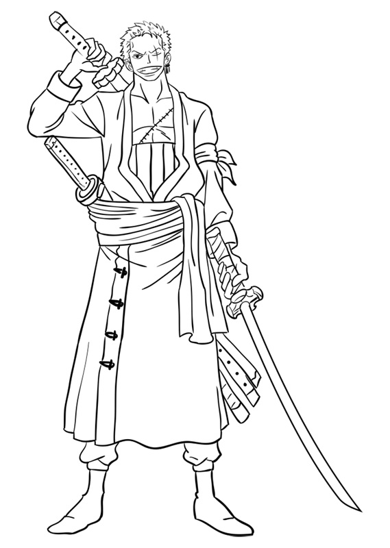 Learn easy to draw Roronoa Zoro One Piece step 15