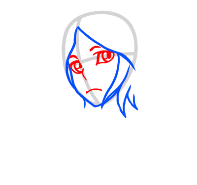 Learn easy to draw Rukia Face Bleach step 03