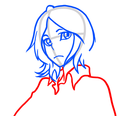 Learn easy to draw Rukia Face Bleach step 05