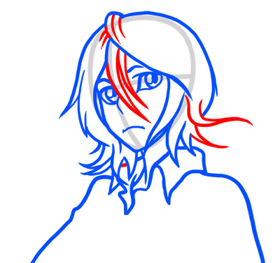 Learn easy to draw Rukia Face Bleach step 06