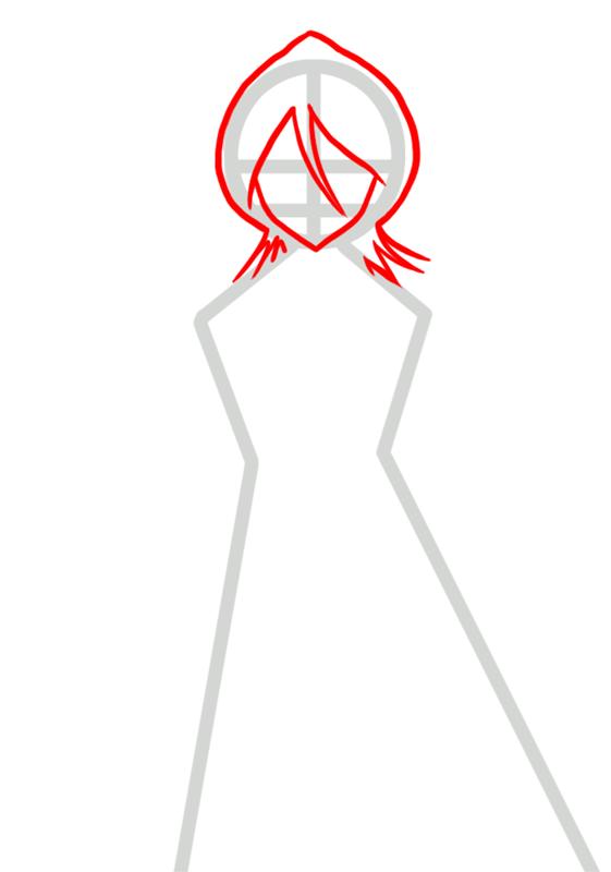 Learn easy to draw Rukia Kuchiki Bleach step 02