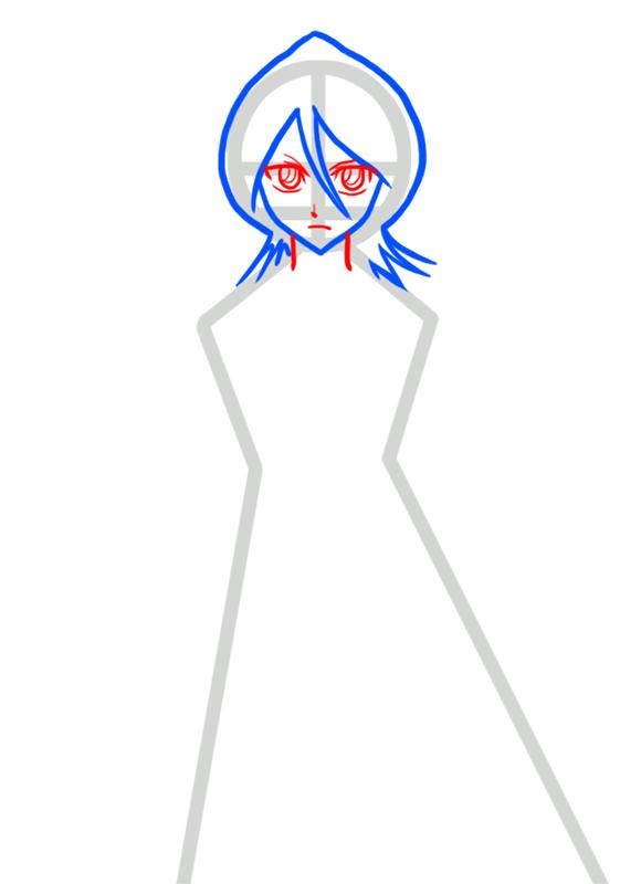Learn easy to draw Rukia Kuchiki Bleach step 03