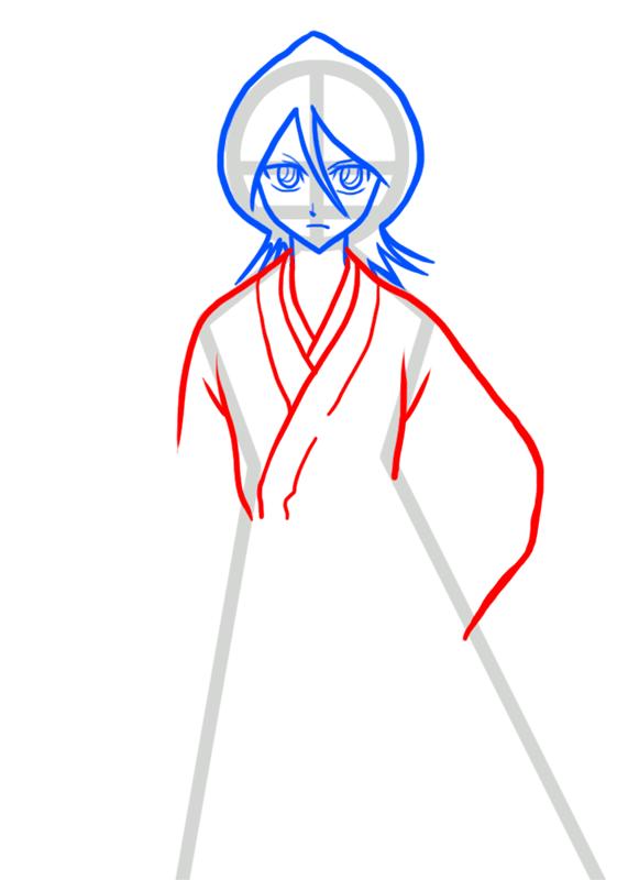 Learn easy to draw Rukia Kuchiki Bleach step 04
