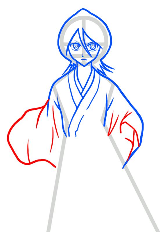 Learn easy to draw Rukia Kuchiki Bleach step 05