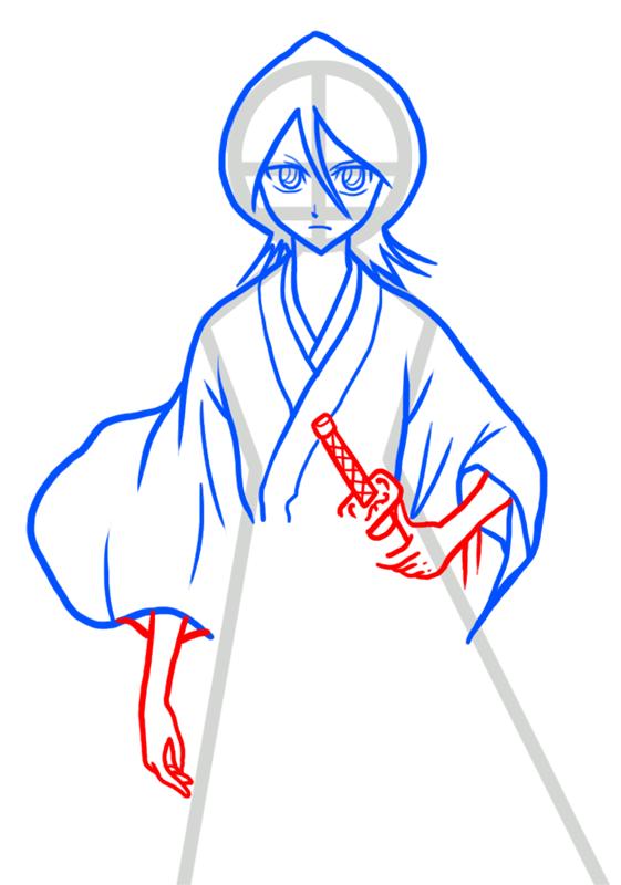Learn easy to draw Rukia Kuchiki Bleach step 06