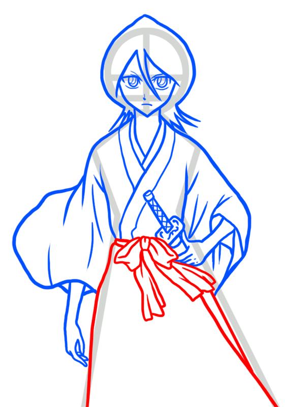 Learn easy to draw Rukia Kuchiki Bleach step 07