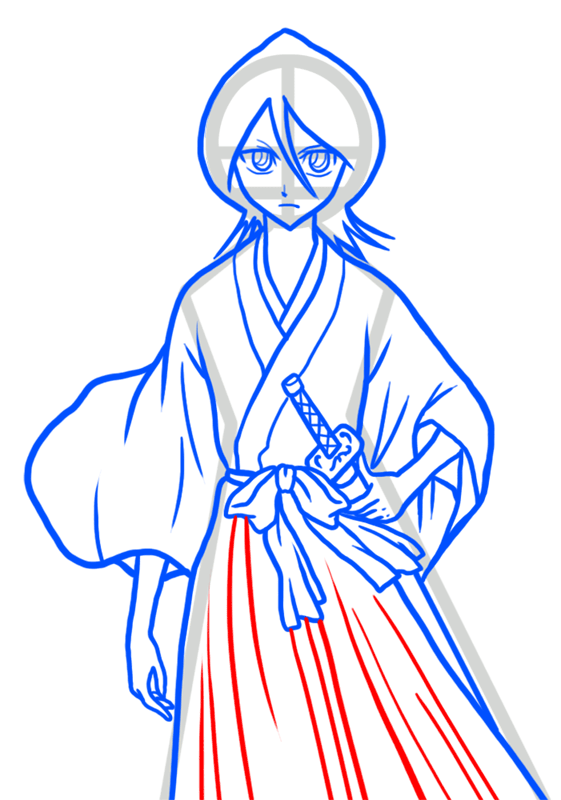 Learn easy to draw Rukia Kuchiki Bleach step 08