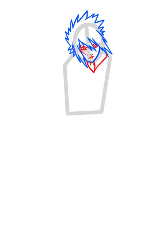 Learn easy to draw Sasuke Naruto step 03