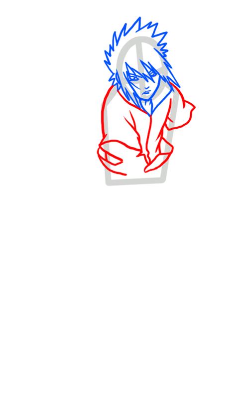 Learn easy to draw Sasuke Naruto step 04