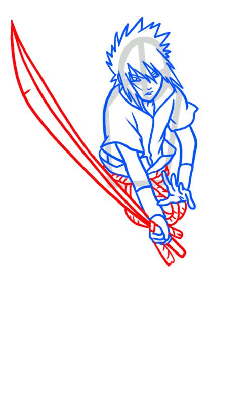 Learn easy to draw Sasuke Naruto step 06