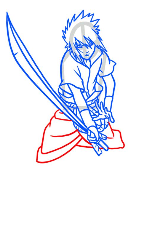 Learn easy to draw Sasuke Naruto step 07