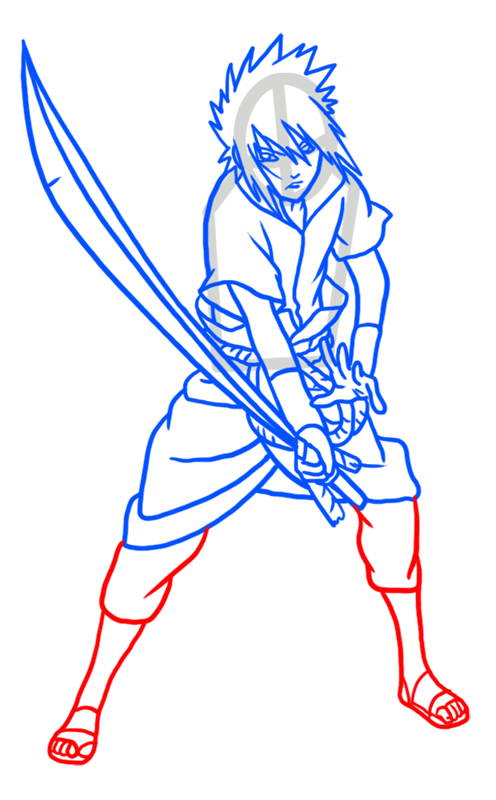 Learn easy to draw Sasuke Naruto step 08