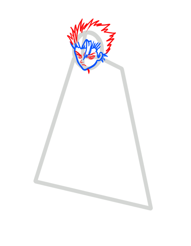 Learn easy to draw Toshiro Hitsugaya Bleach step 03
