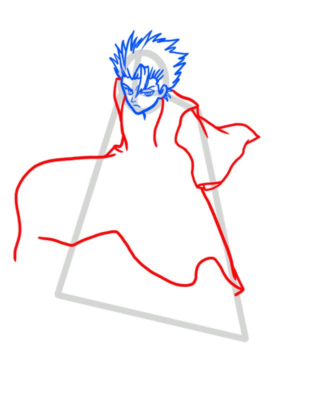 Learn easy to draw Toshiro Hitsugaya Bleach step 04